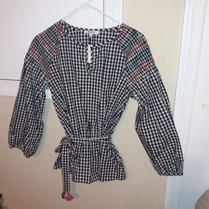 Madewell Gingham Smocked Belted Top Small NWT